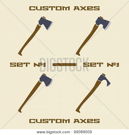 Different axe types  icon set. Design template vector illustration.