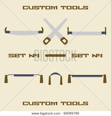 Different carpentry tool silhouette icon set. Design template vector illustration.