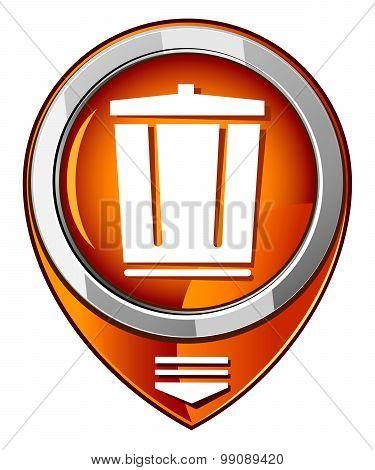 Vector Trash Can Orange Pointer