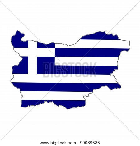 Map flag of Bulgaria - Greece. The Greeks in Bulgaria