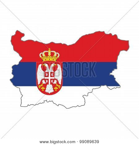 Map flag of Bulgaria - Serbia. Serbs in Bulgaria