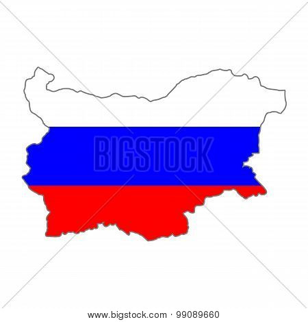 Map flag of Bulgaria-Russia. Russian in Bulgaria