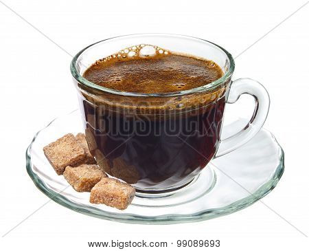 Cup Of Coffee With Brown Cane Sugar