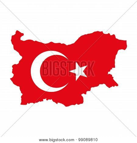 Map flag of Bulgaria - Turkey. Turks in Bulgaria