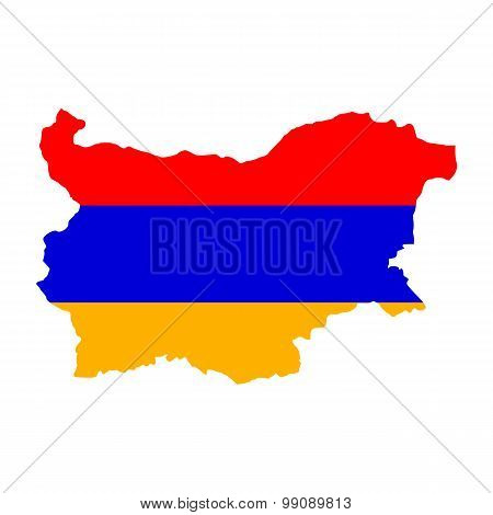 Map flag of Bulgaria - Armenia. Armenians in Bulgaria