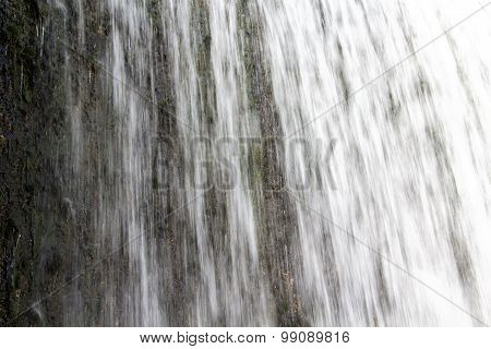Waterfall and vegetation under water