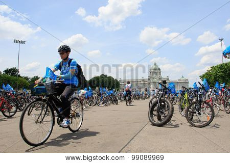 Bangkok Thailand : August16 : Thai People Riding Bicycle In