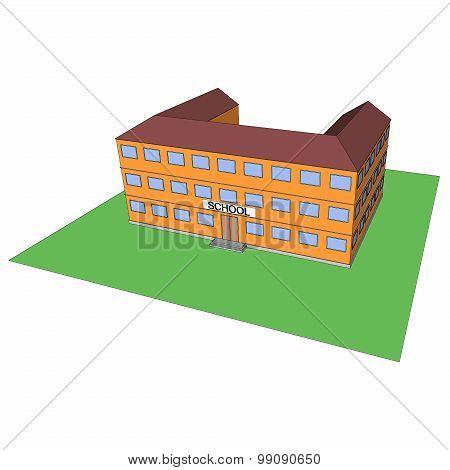 Cartoon school building. Vector