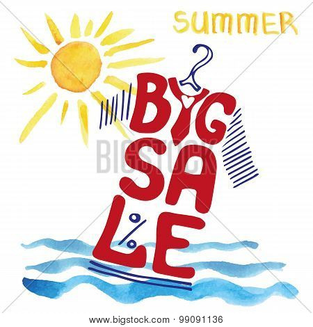 Summer big Sale lettering.Tee Shirt,watercolor sun,wave