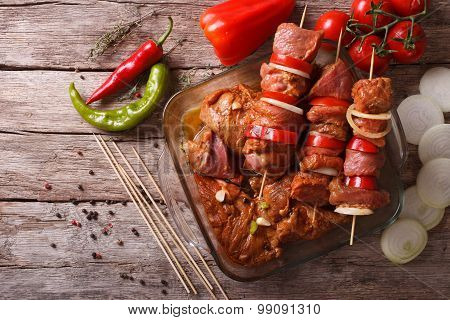 Preparing Food For Cooking Barbecue On Skewers. Horizontal Top View