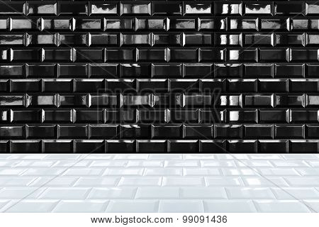 Glossy White Ceramic Brick Tile Wall And Black Tile Floor