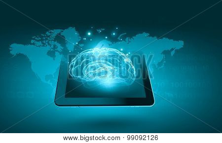 Global connection concept with tablet pc and digital human brain