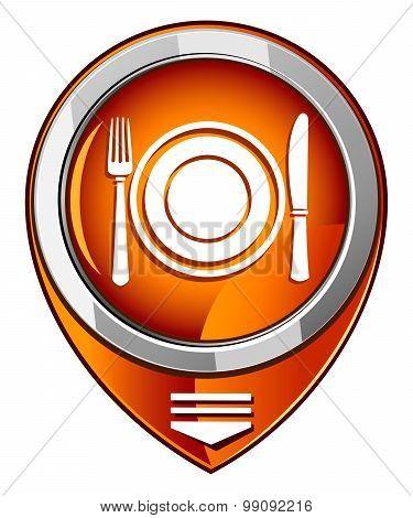 Dish, Fork And Knife. Orange Pointer