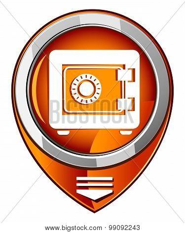 Metal Safe Icon. Security Concept. Orange Pointer