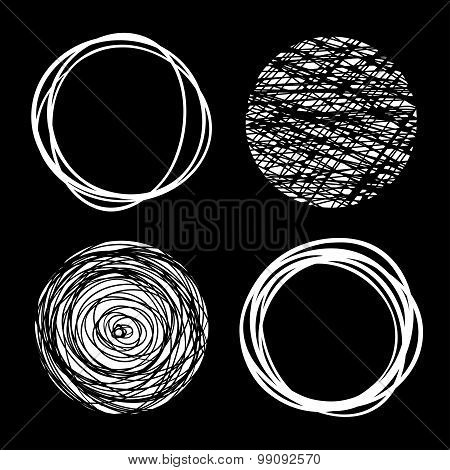 Set of White Hand Drawn Scribble Circles