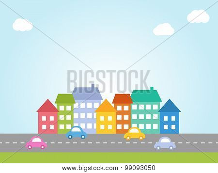 City With Colored Houses
