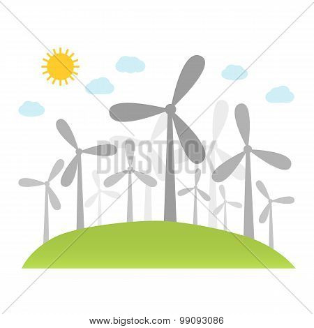 Wind Power Plants On Hill