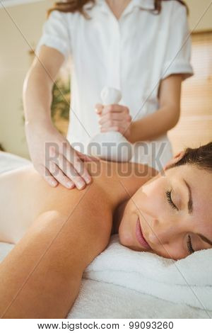Young woman getting herbal compress massage in therapy room