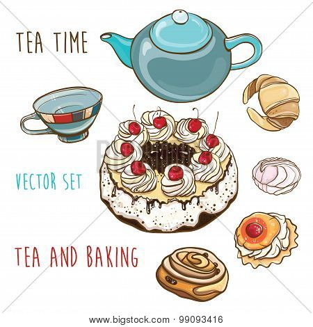 Tea Time. Vector Set Of Pastry, Baking, Teapot And Cup.