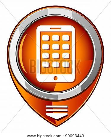Mobile Phone Orange Pointer. Modern Smartphone Mobile Device
