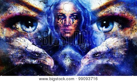 Goddess Woman with ornamental tattoo on face, space  light stars