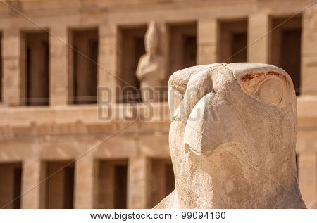 Horus Guarding Hatshepsut Temple In Egypt, Valley Of The Kings, Luxor, Egypt.
