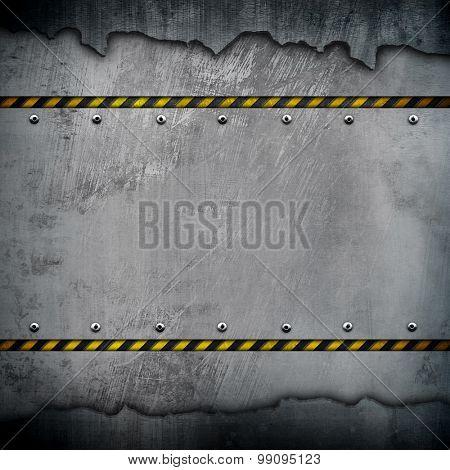 cracked metal with warning stripe