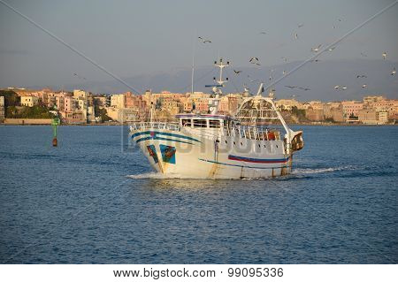 The Return Of A Fishing Boat In The Port Of Anzio