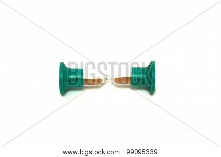 Old green hourglass on white background