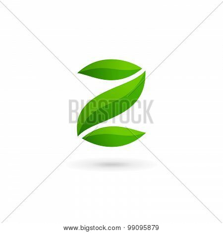 Letter Z Number 2 Eco Leaves Logo Icon Design Template Elements