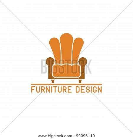 Furniture Logo Mockup, Armchair Isolated, Chair Icon