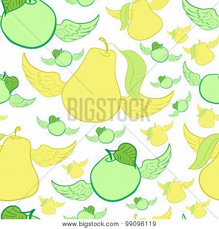 Seamless winged apples and pears