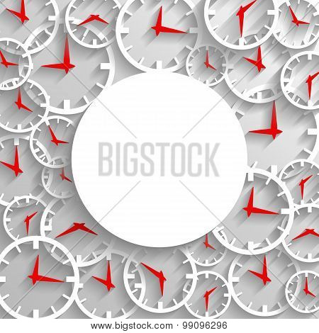 Abstract Time Mockup Poster Background, 3D Analog Clock With Frame For Text