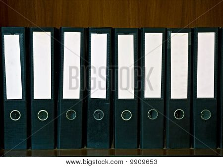 Wooden Shelf with document Folders and blank label
