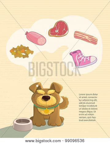 Cute brown doggy and food