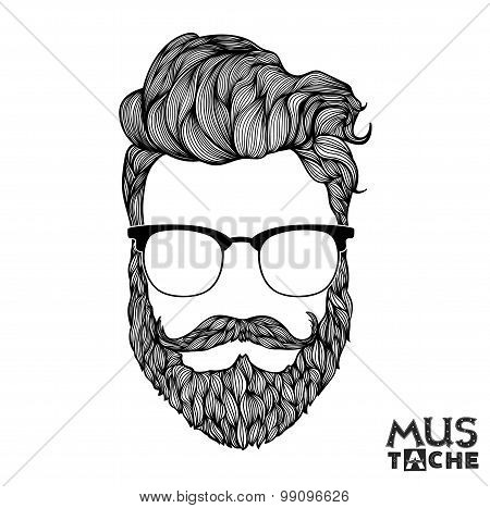 Mustache Beard and Hair Style.