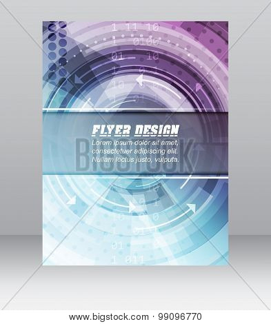 Abstract business flyer template with technological pattern, magazine, cover design