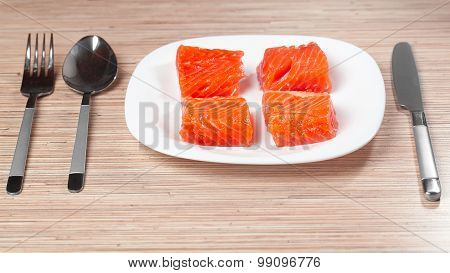 The red frozen fish salmon trout