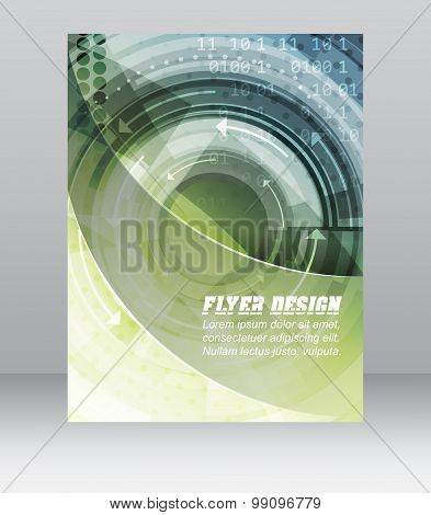 Abstract business flyer template with technological pattern, magazine, cover design or corporate ban
