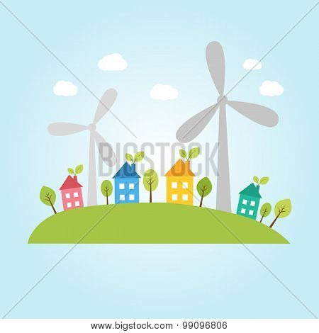 Town With Wind Power Plants