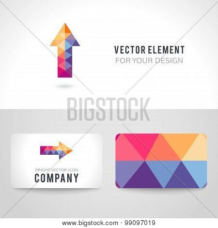 Bright colorful arrow shape in modern polygonal crystal style