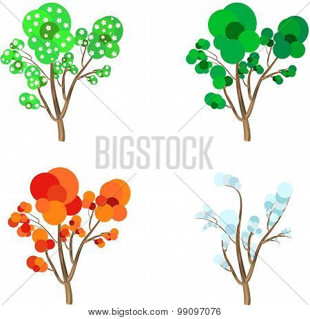 Four Seasons Cartoon Trees: Spring, Summer, Autumn And Winter