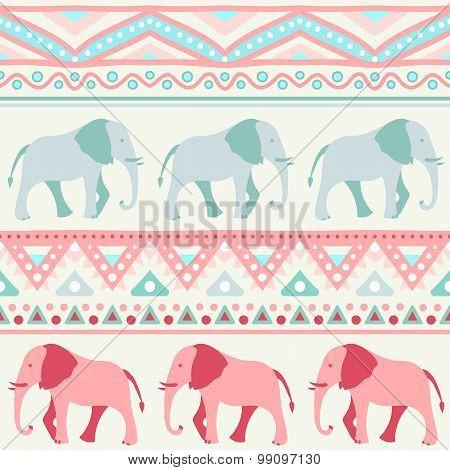 Animal seamless vector pattern of elephant