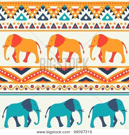 Animal seamless vector pattern of elephant