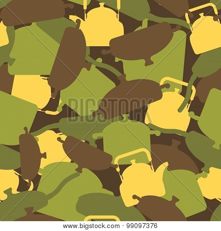 Military Texture Of Kitchen Utensils. Camouflage Army Seamless Pattern From Pots, Pans And Roasters.