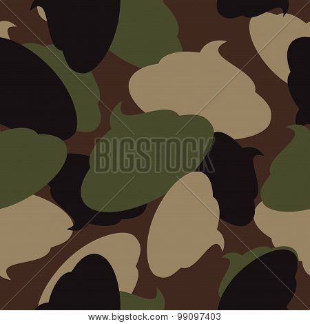 Army Pattern Of Turd. Military Camouflage Texture Vector Shit. Soldier Protective Seamless Pattern.