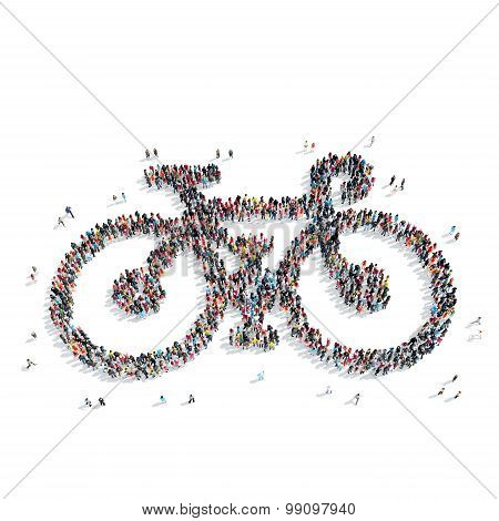 group  people  shape  bicycle