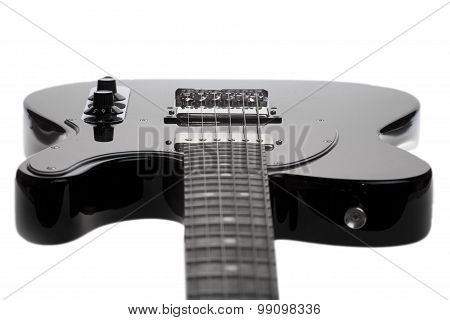 Black Electric Guitar On A White Background