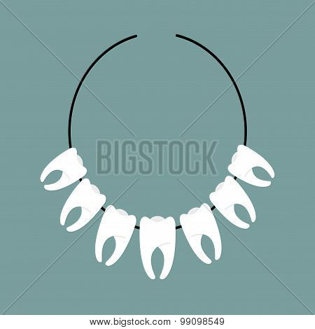 Necklace Of Teeth. Decoration On Neck Of  Indians. Mascot For Aboriginals. Decoration Of Dentist.