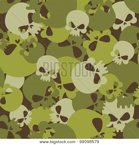 Military Texture Of Skulls. Camouflage Army Seamless Pattern From Head Skeletons. Scary  Seamless Ba